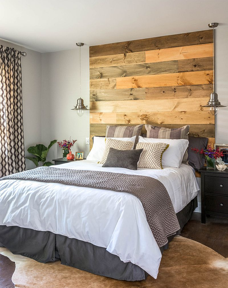 Majestic wooden headboards ... wooden headboard adds warmth to the contemporary bedroom [design:  carriage lane ywwtzpv